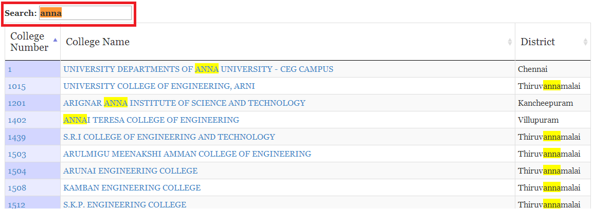 filter colleges in TNEAhelp colleges list