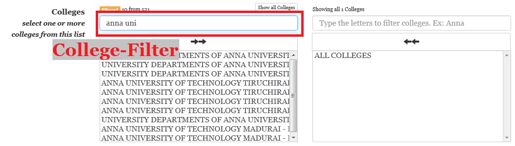 add colleges in TNEAhelp colleges-finder - using filters
