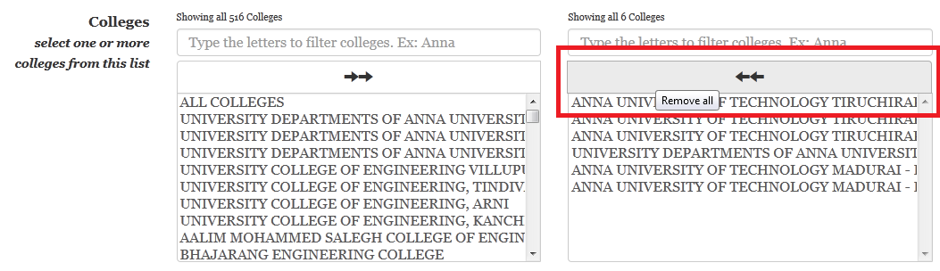 add colleges in TNEAhelp colleges-finder - remove all colleges
