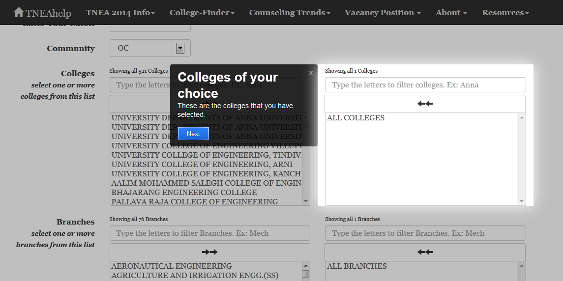 TNEAhelp College-Finder page-tour